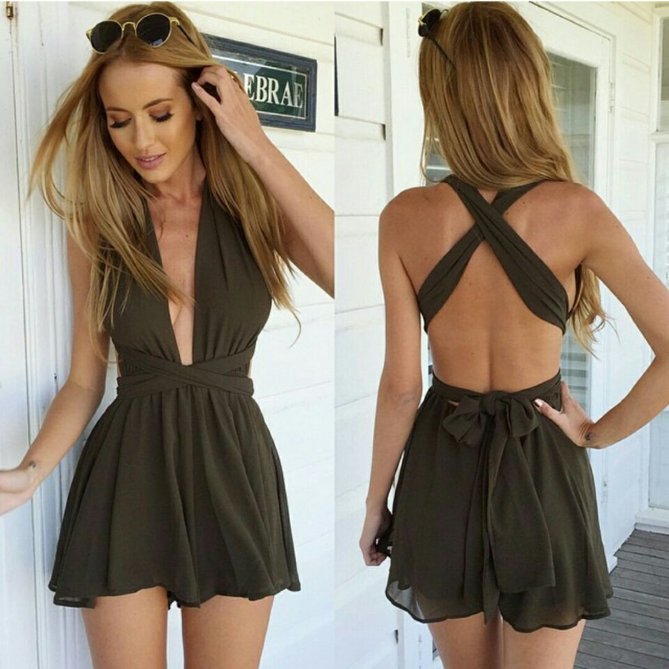 3aa312ae66d9 summer fashion trends in Europe and America leotard women Bandage sexy V- neck adjustable straps Beach chiffon Jumpsuits  412