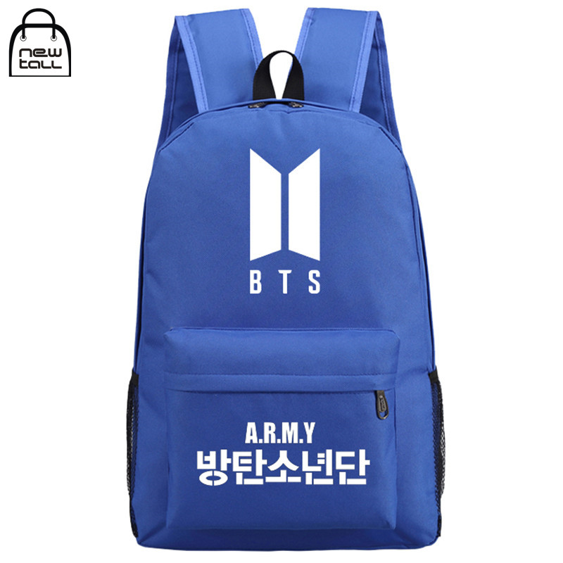 [NEWTALL] 2017 Kpop BTS Bangtan Boys New Logo Door ARMY Letter Backpack Student Schoolbag Shoulder Bag Fans Collection 17071298 flsun 3d printer big pulley kossel 3d printer with one roll filament sd card fast shipping