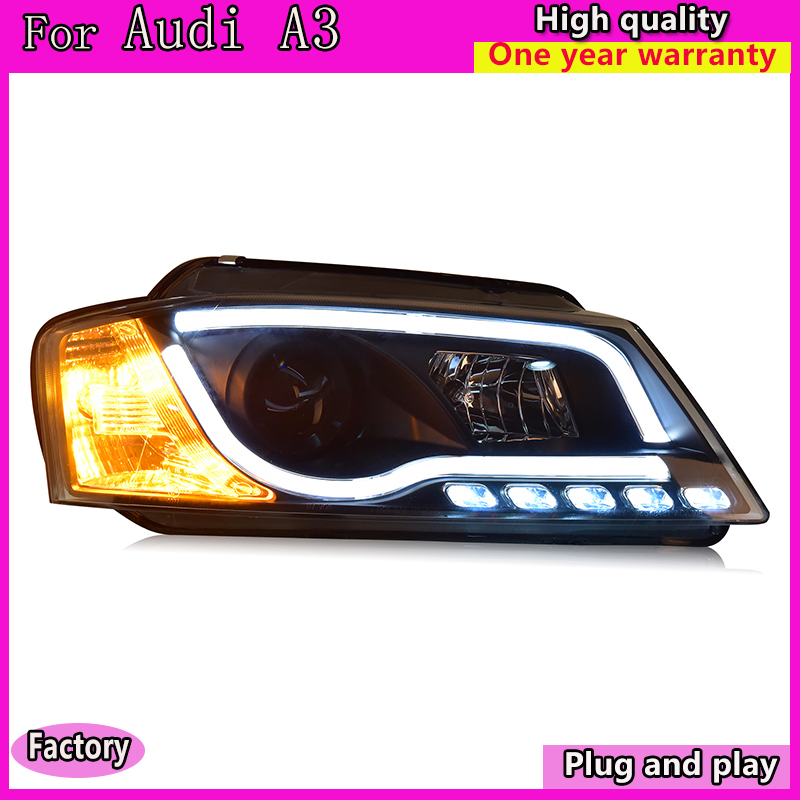 Car Styling Car Styling For AUDI A3 headlights 2008 2012 For A3 head lamp led DRL front Bi Xenon Lens Double Beam HID KIT