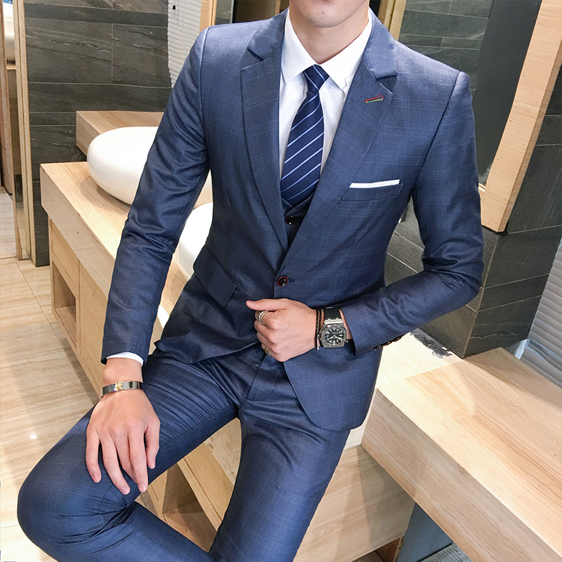 Suit Men Clothing Business-Dress Wedding-Suits Spring Navy-Blue Sizes Single-Breasted