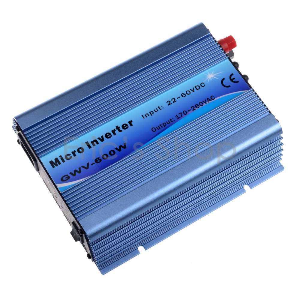 Grid Tie Inverter 600W DC22V-60V to AC230V Pure Sine Wave Inverter Fit For 60cells and 72cells solar panel With MPPT Function mini power on grid tie solar panel inverter with mppt function led output pure sine wave 600w 600watts micro inverter