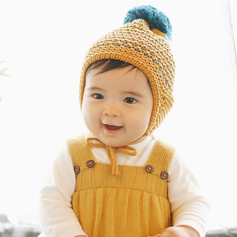 Winter Warm Child Toddler Hairball Cap Boy Girl Beanie Ear capHat Crochet Yellow Pink baby winter hat