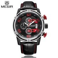 새로운 클래식 브랜드 megir 쿼츠 시계 정품 가죽 크리 에이 티브 크로노 그래프 시계 남성 스포츠 시계 시계 남성 relogio masculino