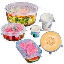 6 Unids/set Reutilizable de Silicona Tapas de Estiramiento Cocina Los Alimentos Cubierta Envuelve Horno de microondas Seguro Cubre Tapas De Vacío Libre de BPA Para Puede botella