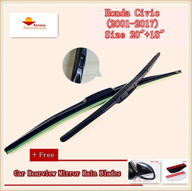 High Quality U Type Universal Car Windshield Wiper With Soft Natural Rubber For Honda Civic 2001 2017 Size 20 18