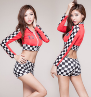 Red Motorcycle Race Suit For Women Sexy Car Model Cosplay Race Driver Costume Sexy Race Girl
