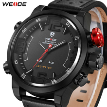 Best Gift WEIDE Men's Casual Fashion Quartz LED Display Top Brand Luxury Genuine Leather Strap Military Army Watch Wrist Clock weide brand big dial army military japan quartz watch movement analog digital display water resistant leather strap alarm clock