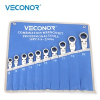 Veconor 8 22mm Pouch Packed Ratchet Wrench Spanner Set of Keys Multitools Flexible Head Dull Polish Active Gear Key Set