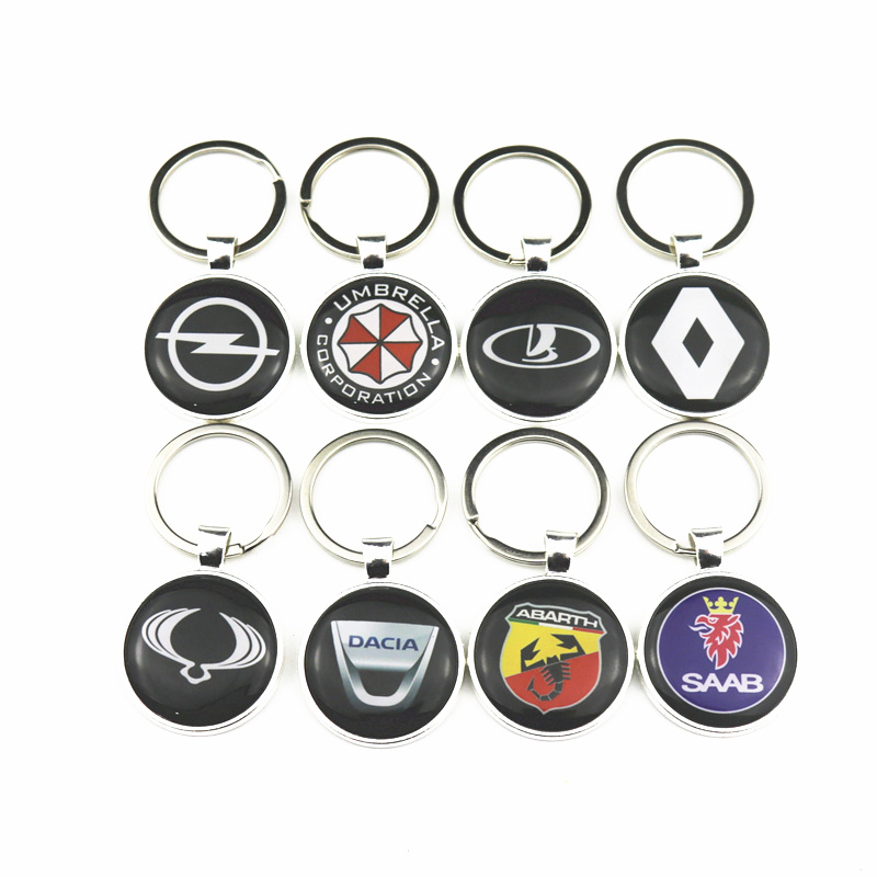 Car Emblem Badge Sticker For Renault Lada Opel Audi Nissan Hyundai Chevrolet Skoda Ford Peugeot Keychain Keyring Car Styling