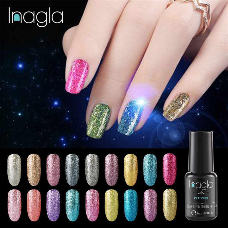 Inagla 8 Ml Kuku Seni Rendam Off Platinum UV LED Gel Cat Kuku Pernis Semi Permanentcolorful Gel Lacquer Top & base Coat Gel Varnish