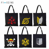 Anime Shoulder Bag Naruto One Piece Fairy Tail Attack On Titan Backpack Man Girl Black Canvas Bag School Student Cool Print Bag