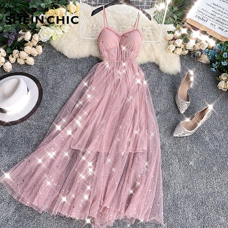 Summer Runway 2019 Women Sweet Dress Sexy Spaghetti Strap Pink Black Long Dress Elegant Sequined Shining Fairy Verano Vestidos