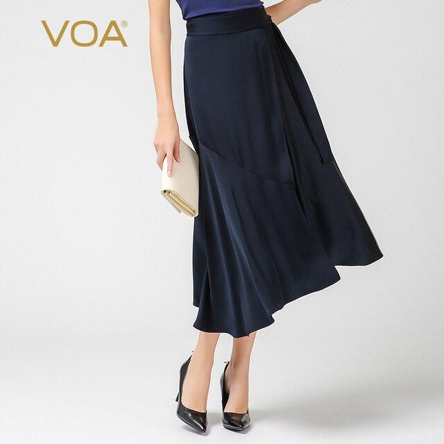 b68368bff1a VOA 2018 Spring Summer Trend Navy Blue Office Lady Plus Size High Waist  Umbrella Skirt Silk Women Asymmetric A Line Skirt C7529