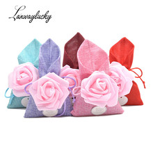 50pcs/lot Handmade Natural Jute Burlap Bags Rustic Hessian Drawstring Bag Small Jewelry Chocolates Party Favor Packaging Pouches