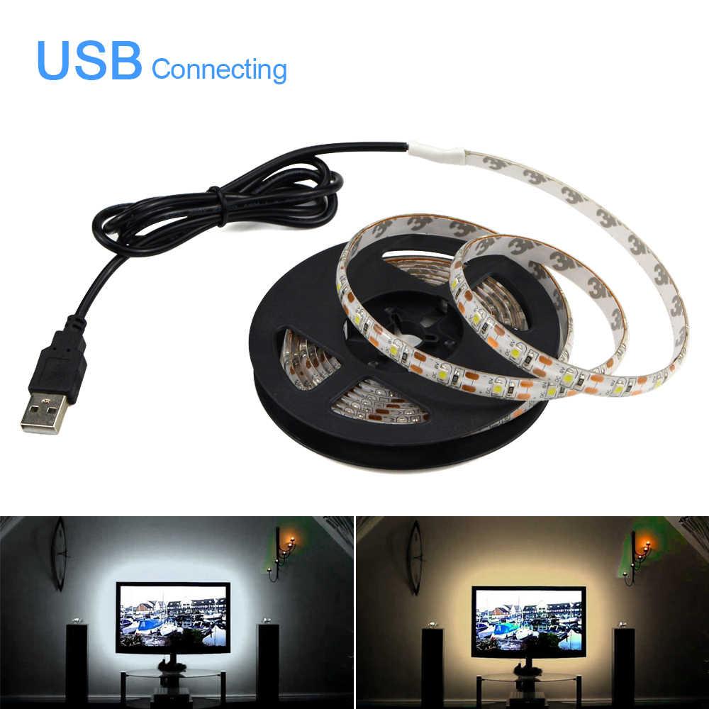 DC 5V USB 2835 LED شريط إضاءة بألوان أحمر وأخضر وأزرق التلفزيون خلفية إضاءة ديكوريّة سلاسل البسيطة 3key/24key/RF 17key تحكم/ الأبيض/الدافئة الأبيض