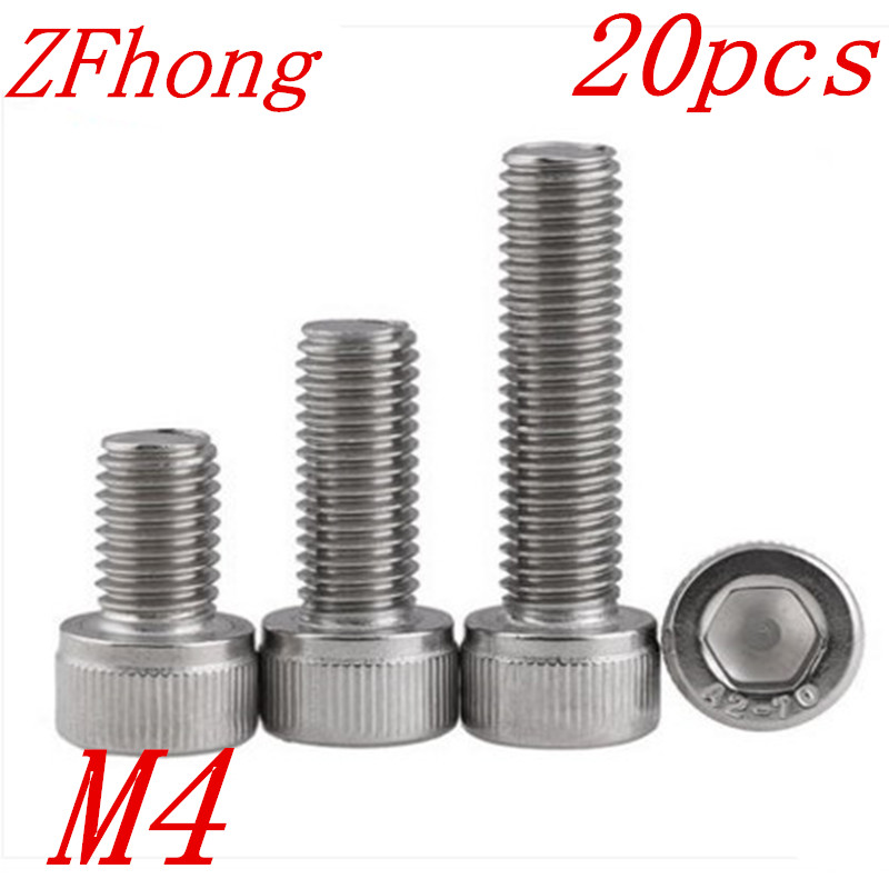 20Pcs M4*6/8/10/12/14/16/18/20/25/30/35/40 DIN912 304 Stainless Steel Hexagon Socket Head Cap Screws Hex Socket Bolts 2pc din912 m10 x 16 20 25 30 35 40 45 50 55 60 65 screw stainless steel a2 hexagon hex socket head cap screws