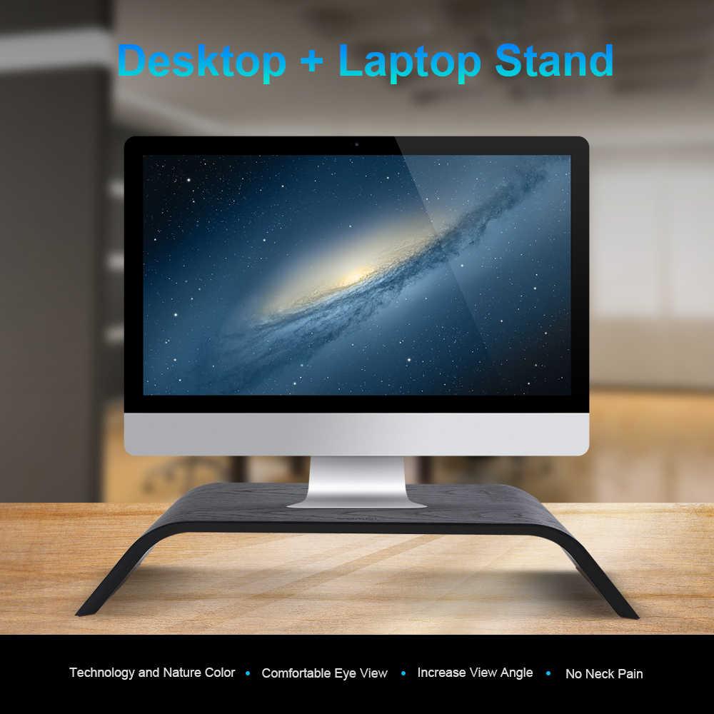 الرف الناهض البلوط خشبية حامل شاشة كمبيوتر سطح المكتب زيادة حامل الكمبيوتر قفص الاتهام حامل الكمبيوتر المحمول رف عرض قوس ل iMac دفتر