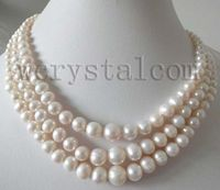 new Style Hot sale*** 3 row graduated white 8 9mm cultured pearls necklace Fashion Wedding Party Jewellery