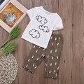 Hot New Children Suits Outfit Cotton Newborn Kid Clothing Set Baby Clouds T-shirt + Raindrop Pants Baby Boys Clothes 2pcs Set 22