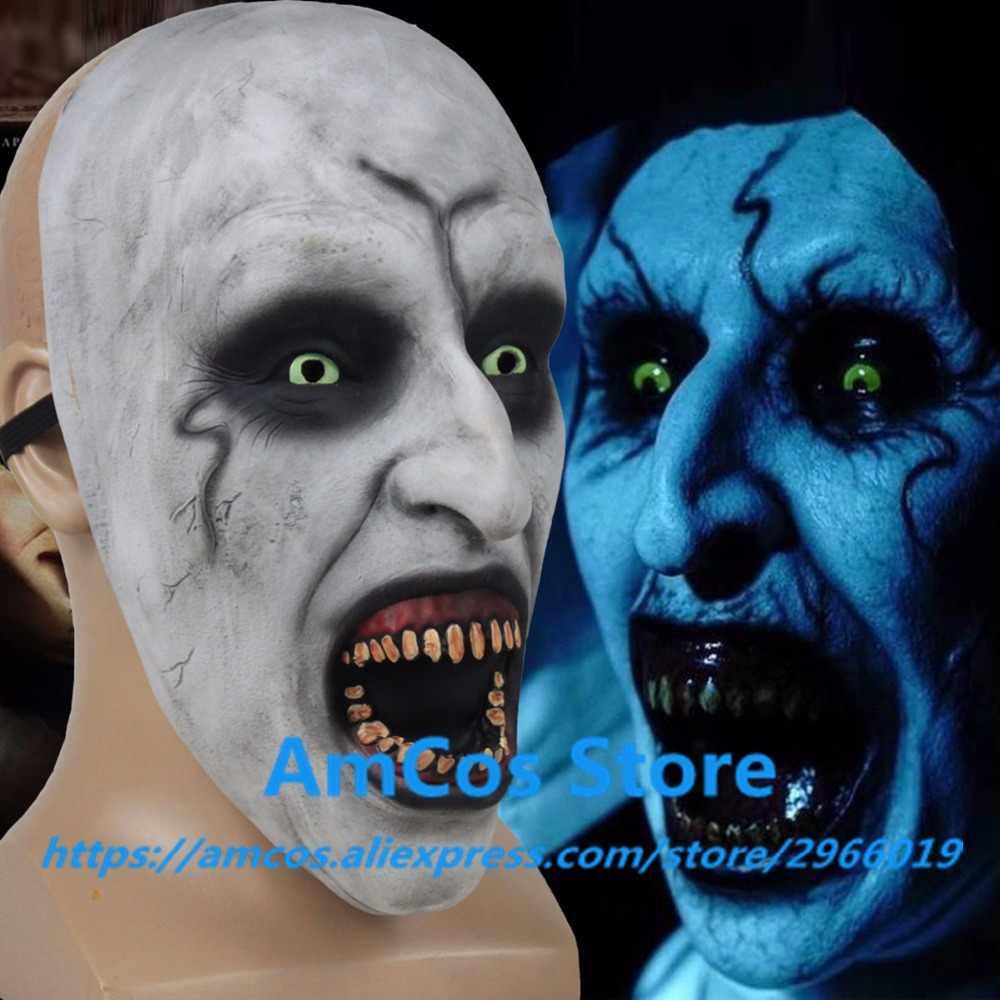 2018 Nun ужасная Маска Косплей валак страшная Половина лица латексные маски Шлем Хэллоуин вечерние реквизит дропшиппинг