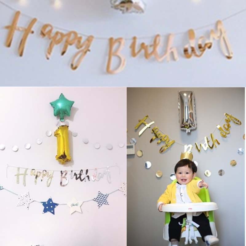 1Set Baby Shower Sparkly Gold/Silver Happy Birthday Banner Garland Kids Home Birthday Party Bunting Flag Decor Supplies