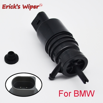 Erick's Wiper Front Windshield Windscreen Wiper Washer Pump Motor with Grommet For BMW E36 E46 323is 330i 328i 328is 1997-2007 image