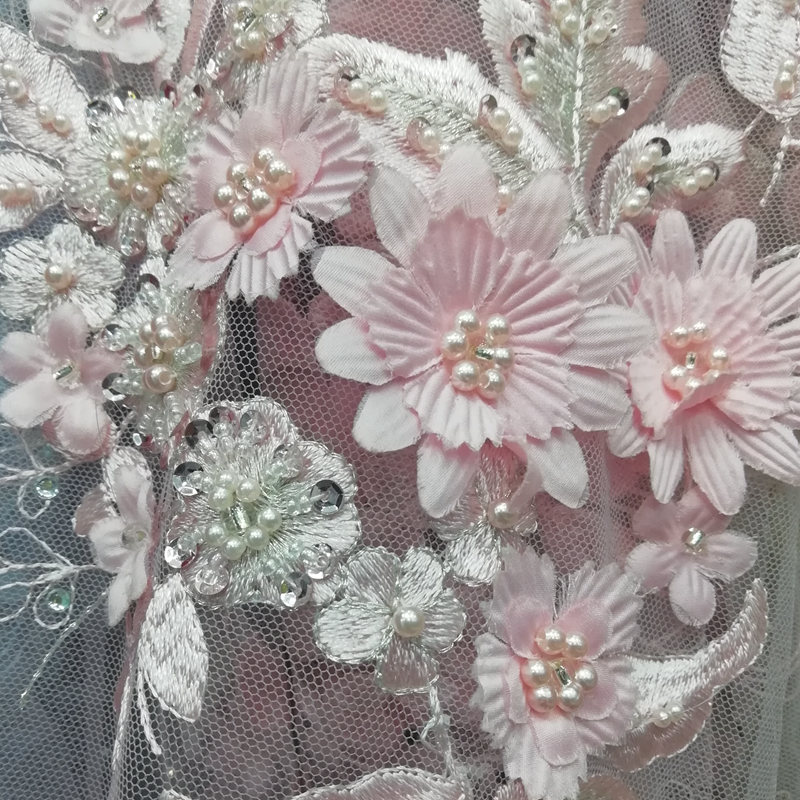 Couleur rose de luxe mariée français dentelle tissu élégant 3D fleur broderie perle perlée dentelle Applique dentelle pour robe AD472