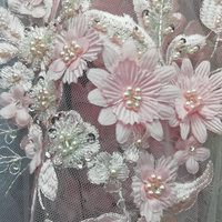 Luxury Pink color Bridal french lace fabric Elegant 3D Flower Embroiderey Pearl Beaded Lace Applique Lace For Dress AD472