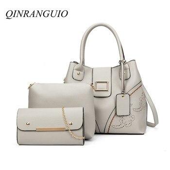 8e2960b1a37b QINRANGUIO сумки через плечо для женщин 2019 модные женские сумки мягкие из  искусственной кожи выдалбливают сумка