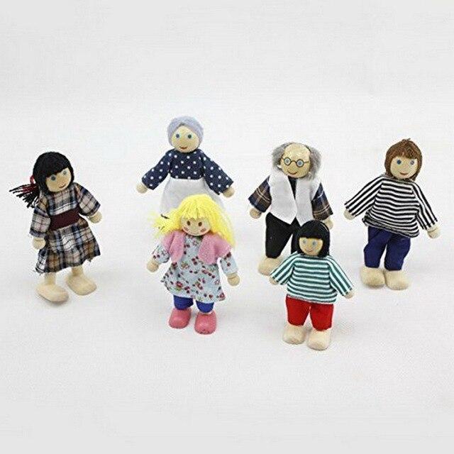 6ชิ้น/เซ็ตเด็กในครอบครัวที่น่ารักตุ๊กตาP Laysetไม้ตัวเลขชุดสำหรับเด็กบ้านแกล้งของขวัญ