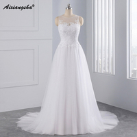 2016 Simple A Line Chiffon Wedding Dresses Sweetheart Spaghetti Straps Sweep Train Lace Bridal Gown Pregnant
