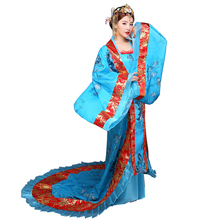 Hanfu Women Traditional Clothes Royal Lady Chinese Stage Dress Blue Cosplay Asian national costume Ancient Costume