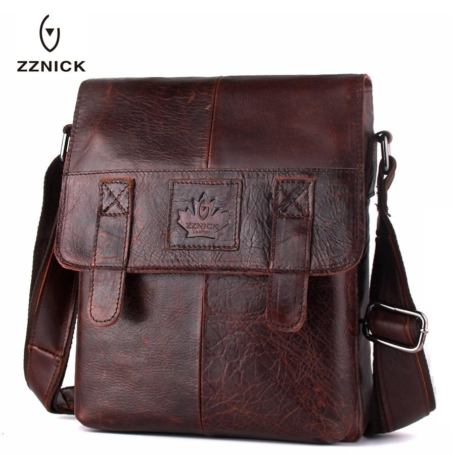 ZZNICK 2017 Genuine Leather Men Bag Men Messenger Bags Shoulder Crossbody Bags for Man Handbag Casual Men's Leather Bag Hot Sale цены онлайн