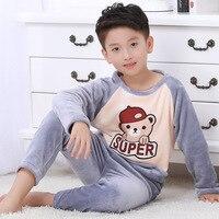 Children Fleece Autumn Winter Pajamas Home wear Boys Pajamas Warm Flannel Sleepwear Girls Lounge wear Coral Fleece Kids pajamas