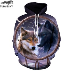 TUNSECHY Wolf Printed Hoodies Men 3D Hoodies Brand Sweatshirts Fashion Tracksuits Wholesale and retail Free transportation 3