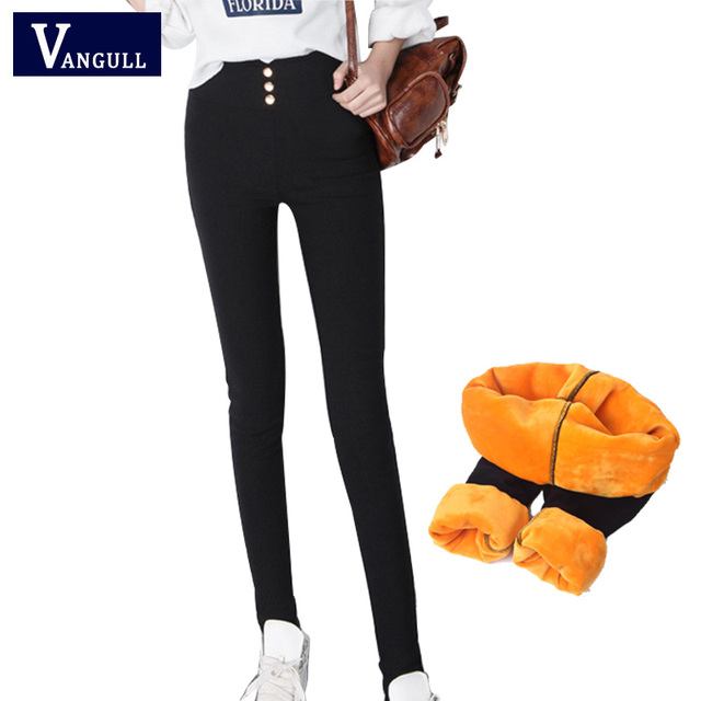 Fleece Lined Winter Pants Women Trousers 2018 New Plus Velvet Thick Warm Pencil Pants Plus size Slim Casual Pants High Elastic