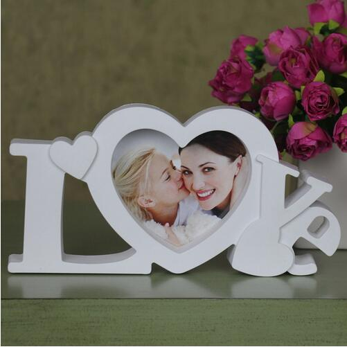 pure love photo frame white heart shape with one picture 4x4 for new baby and