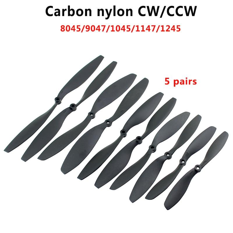 5Pairs 8045/9047/1045/1147/1245  Carbon Fiber Nylon Propeller CW/CCW Prop For RC Qudcopter UAV Drone VS APC Prop