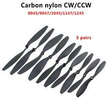5 pares 8045/9047/1045/1147/1245 fibra de carbono hélice de náilon cw/ccw prop para rc qudcopter uav drone vs apc prop