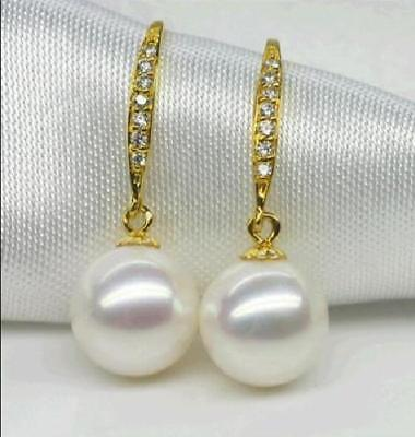 hot a pair of natural AAA 10-11MM south sea white pearl earring yellow hook @