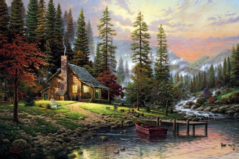 Bezrámové kutilství obrázky podle čísel malovat podle čísla pro domácí výzdobu olejomalba pro obývací pokoj 4050 horský potok