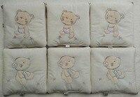 아기 유아 침대 범퍼 침대 보호기 아이 소프트 봉제 침대 보육 침구 6 개 세트 아기 곰 베개 쿠션 침대 침구