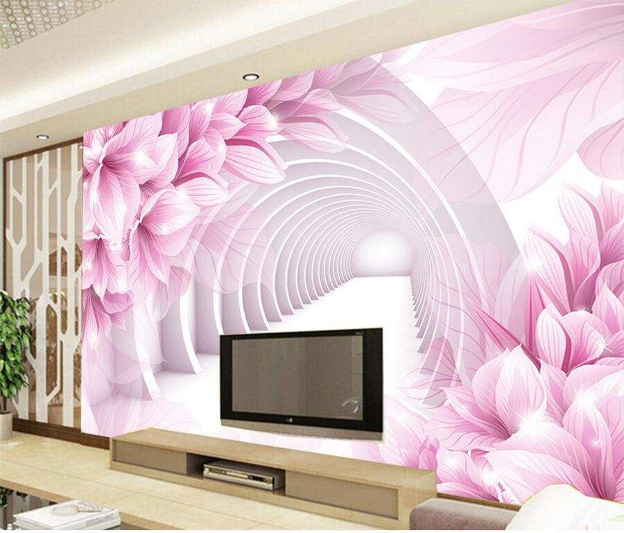 Custom 3d large murals wallpaper,Pink flowers papel de parede,hotel restaurant living room sofa TV wall bedroom wallpaper custom papel de parede infantil see graffiti mural for sitting room sofa bedroom tv wall waterproof vinyl which wallpaper