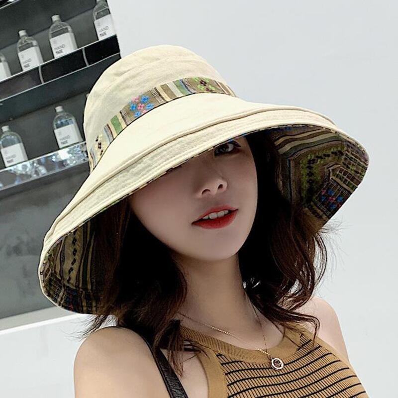 HTB1WBWrbtfvK1RjSspoq6zfNpXaG - Double sided irregular Pattern Bucket Hat Women Summer Cotton Breathable Leisure Bob Caps Outdoor Sports Casual Dome Panama Cap