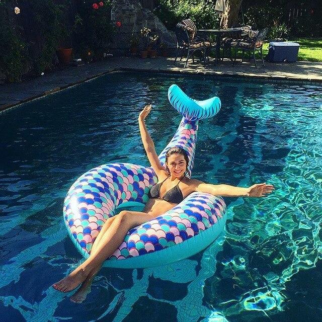 Русалка плавание кольцо гигант бассейна матрас хвост плавательный круг для взрослых пляжные летние водонепроницаемые надувные игрушки