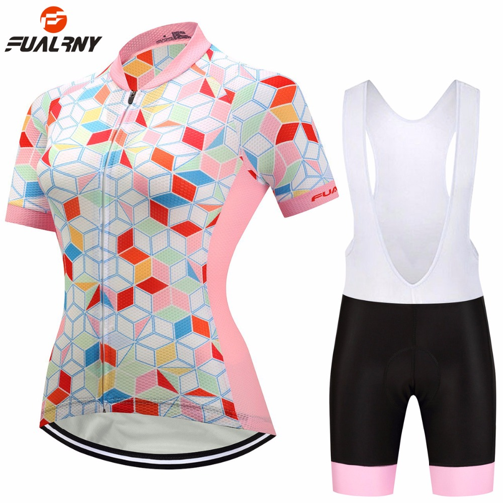 FUALRNY 2018 Summer Women Cycling Clothing Set Short Sleeve Jersey Bib Set Breathable MTB Bike Bicycle Clothes Ropa Ciclismo