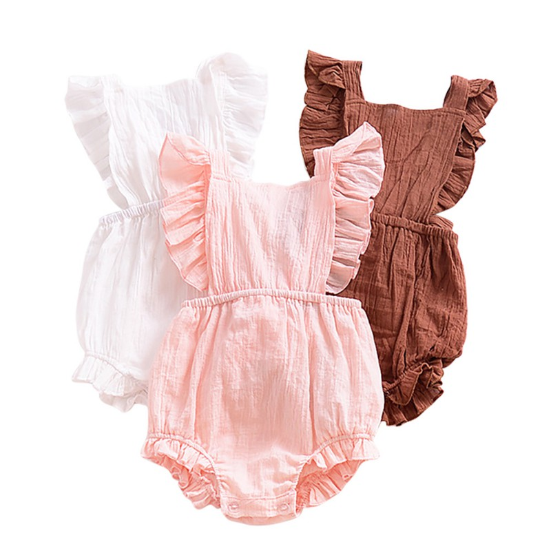Summer Cute Newborn Baby Girl Sleeveless Romper Infant Solid Ruffles Jumpsuits Toldder Comfortable Clothes 2018 New