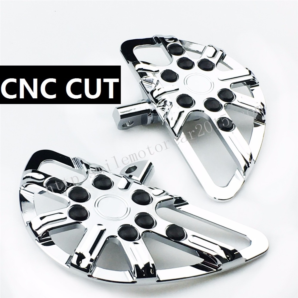 Chromed Motorcycle Deep Cut Passenger Floorboards Footrest Pedal For Harley Sportster 883 1200 Touring Dyna & Softail