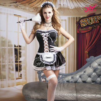9729 Women Sexy Lingerie French Maid Costume Restaurant Waiteress Cosplay Lingerie Sexy Halloween Servant Costumes for Women
