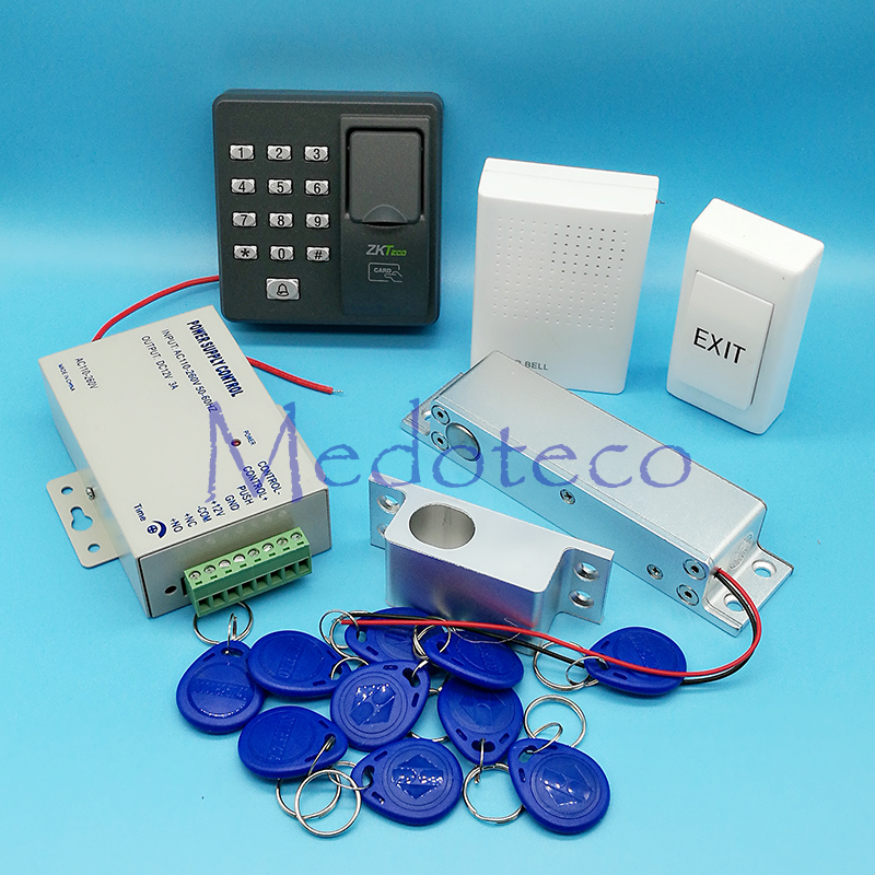 цена DIY Full Set Fingerprint Door Access Control System 125Khz Rfid Card Access Control System Kit +Surface Electric Bolt Lock